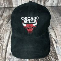 CHICAGO BULLS STRAP BACK NBA BASKETBALL BLACK HAT CAP ADJUSTABLE SPELL BACK OSFM