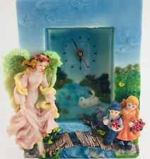Wall Clock Hanging Swing Butterfly Angel Children Swans Animal Lake Bridge Blue