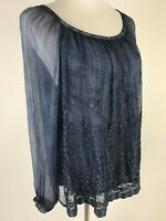 *NEW* SAKS FIFTH AVENUE L/S Italian Silk Chiffon Embroidered Blouse - S, Blue