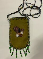 Velvet Beaded Eagle Bag Purse Pouch Phone Glasses Credit Card Strap Green Zipper