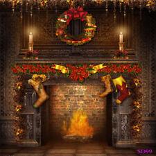 5X7FT Vinyl Studio Backdrop Photography Background XMAS Wreath Fireplace Socks