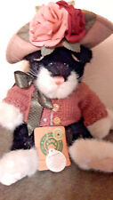 Retired Boyd's Bears Plush Kitty Cat Mrs Petrie Bow Hat Sweater Black White
