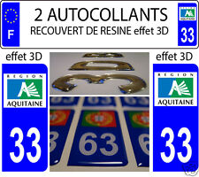 2 STICKERS RECOUVERT DE RESINE PLAQUE D IMMATRICULATION DEPARTEMENT 33 AQUITAINE