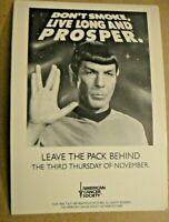 Star Trek Don't Smoke, Live Long And Prosper. 1989 PostCard -2 pc
