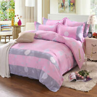 Pink Duvet Cover with Pillow Case Quilt Cover Bedding Set Single Double King