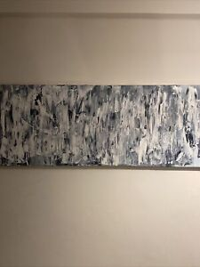 "Extra Large Original Abstract Painting ""Grayline"" Signed by artist."