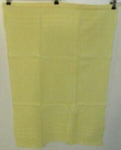 Torchon ancien teint jaune nid d'abeille bandes horizontales