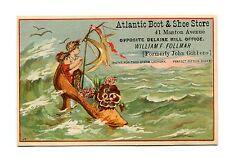 Victorian Trade Card ATLANTIC BOOT & SHOE STORE kids on a shoe raft