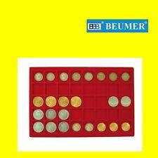 BANDEJA para monedas. Con 40 Divisiones, para monedas de hasta 34mm., Roja