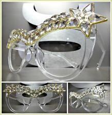 OVERSIZE VINTAGE CAT EYE Style Clear Lens EYE GLASSES Transparent Frame Crystals