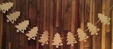 set of 10 laser cut wood christmas trees with two holes for garland bunting