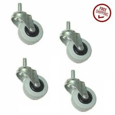 """Package of 4 Low Profile Gray Rubber 2"""" Wheel Stem Casters w 3/8"""" Threaded Stem"""