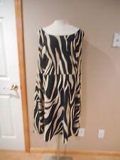 Dressbarn Woman Stunning black & beige zebra print A line Dress size 22