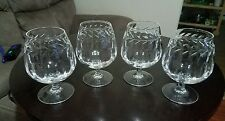 Set of 4 Cristal De Paris Brandy Sniffer Crystal  Glasses