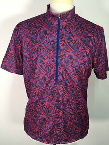 VTG Bellwether USA Made Blue Red Funky Print Mens Cycling Biker Jersey sz L 90s