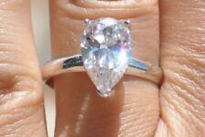 2 .00 Carat Engagement Ring Solitaire VVS1 D Pear Shape Diamond White Gold Over