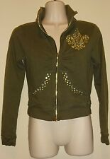 Bisou Bisou XS GREEN studded stitch zip front jacket womens Size XS