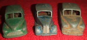 Early Dinky Playworn Cars - Morris Oxford,Triumph And Vanguard.