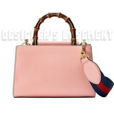 GUCCI pink NYMPHAEA mini BAMBOO Handle Removable WEB Strap bag NWT Authent $2390