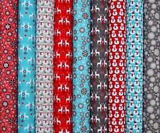 "CHRISTMAS FABRIC BUNDLE LARGE 10"" 25CM  SQUARES REMNANTS COTTON  QUILTING SCRAPS"