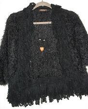 John Fashion Sweater Sequined Fuzzy Shawl Fringe Sweater Size S