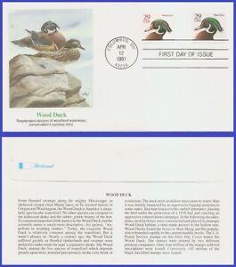 USA5 #2484 U/A FLEETWOOD FDC Combo2  Wood Duck black denomination
