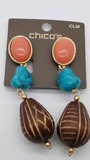 Chico's coral /turquoise  wood clip earrings
