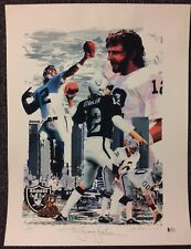 Kenny Stabler Signed 17x22 Serigraph Print Poster M Reniker BAS COA Autographed