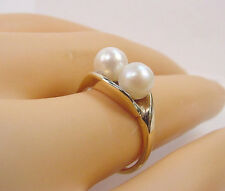 BEAUTIFUL COLOR TWIN CULTURED AKOYA PEARLS 5.70 mm. VINTAGE 10K GOLD RING
