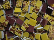 160 Burgundy & Yellow Trio Of Broken Mosaic Plate Tiles