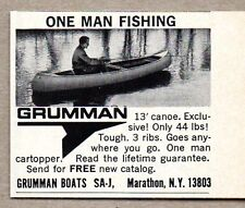 1971 Print Ad Grumman 13' Canoes One Man Fishing Marathon,NY