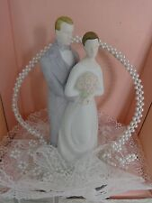HALLMARK 9 INCH PORCELAIN BRIDE & GROOM CAKE TOPPER WITH FEATHER PEN