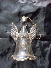 VINTAGE GLASS ANGEL BELL FIGURINE Gold Trim Clear 22022