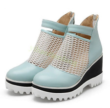 Womens Zip Platform Wedge Heel Ankle Boot Sandal Mesh Summer Vogue Blue US7/CN38