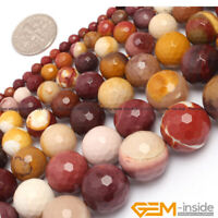 "Natural Mookaite Jasper Faceted Round Beads Strand 15"" 6mm 8mm 10mm 12mm 14mm"