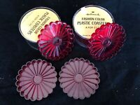 Mid-century red plastic Hallmark drink coasters 2 sets of 4 each made in USA