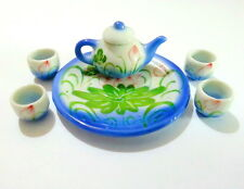 Tea Pot Gift Set Miniature Handmade Ceramic Clay Dollhouse Kid Cute Toy Souvenir