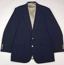 Stanley Blacker Blue Blazer 44L Mens Navy Gold Tone Metal Buttons Wool Blend Sz