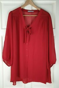 M&S Woman Red Scarlet Long Sleeve Tunic V Neck Blouse Size 22