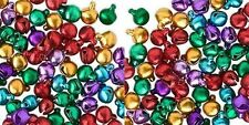 """100 Small JINGLE BELLS ~ Mix of Bright Jewel Colors ~ Beads Charms 6mm (  1/4"""")"""