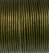 Imported India Leather Cord 2mm Round 5 Yards Metallic Olive Green