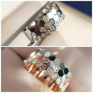 Trendy Silver,Rose Gold Plated Rings Women White Sapphire Jewelry Gift Size 6-10