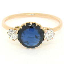 Antique Victorian 14K Gold 2.40ctw NO HEAT GIA Burma Sapphire & Old Diamond Ring