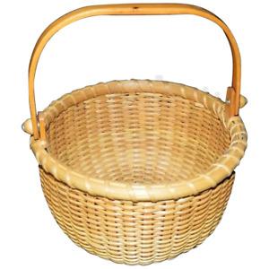 """Vintage R.L. Webber Nantucket Handled Basket 7.5"""" Diameter"""
