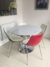Fishpools White Hi Gloss Table And Chairs, Chrome Base , 4 Bucket Chairs ,