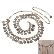 Fashion Vintage Women Lady Belly Antique Silver Coin Chain Belt Tassel Jewelry