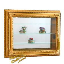 Italian Gold Gilt Rectangular Vitrine Wall Display Curio Cabinet Glass Shelves