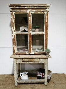 Antique Vintage Country chic distressed Hungarian Rustic Painted 2 door cupboad