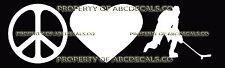PEACE LOVE HOCKEY BREAKAWAY Vinyl Wall Sticker Car Bumper Window Decal