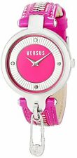 Versus by Versace Women's Key Biscayne Watch SOB030014 Pink Leather Pin Zipper